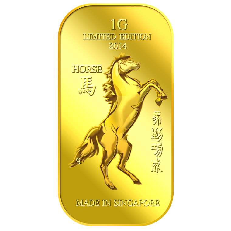 1g Golden Horse Gold Bar
