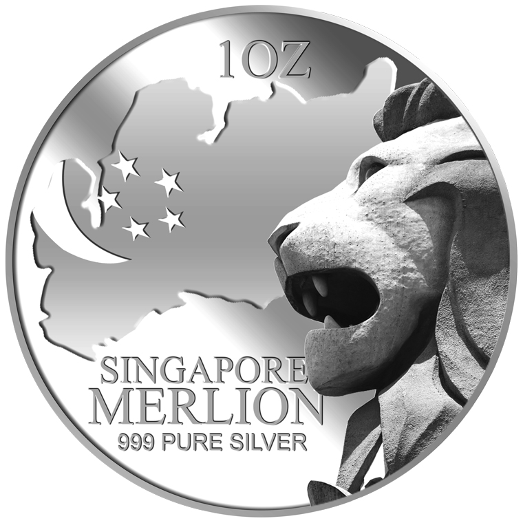 1oz SG Merlion Map Silver Medallion