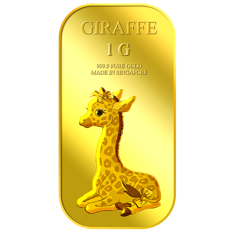 1g Giraffe (Female) Gold Bar