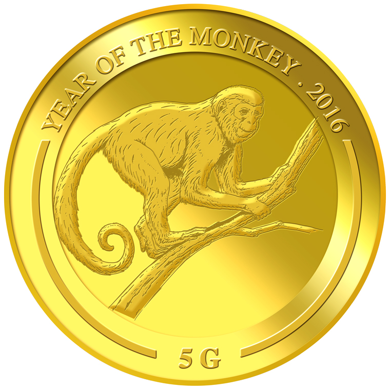 5g Monkey Gold Medallion