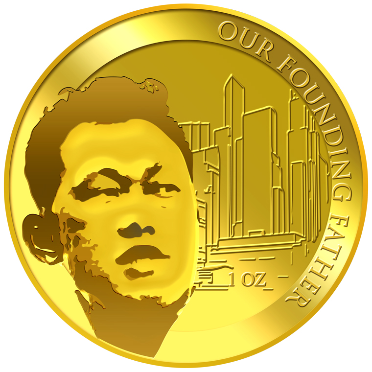 1oz SG Founding Father (Series 1) (1965 SG Independent Day) Gold Medallion (YEAR 2015)