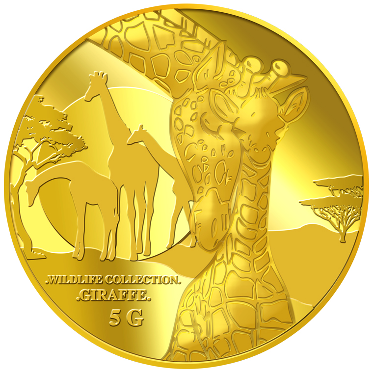 5g Giraffe (Mother & Son) Gold Medallion