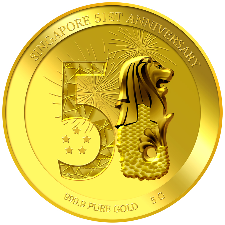 5g SG 51st Anniversary Gold Medallion (YEAR 2016)