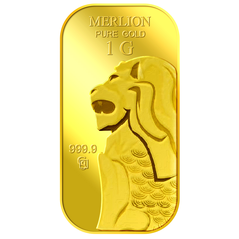 1g SG Merlion Red Dot Gold Bar