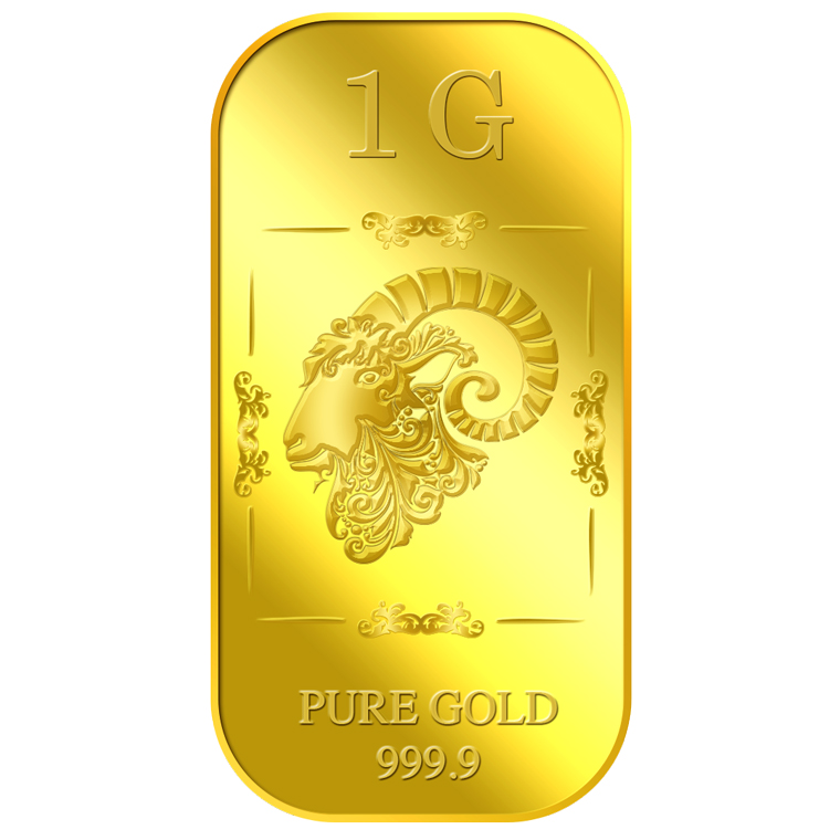 1g Golden Ram Gold Bar