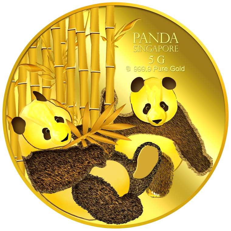 5g SG Giant Panda (Series 2) Gold Medallion