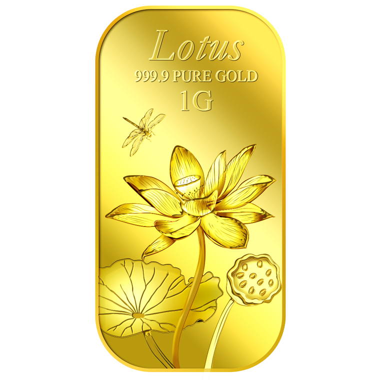 1g Lotus Gold Medallion  Bar