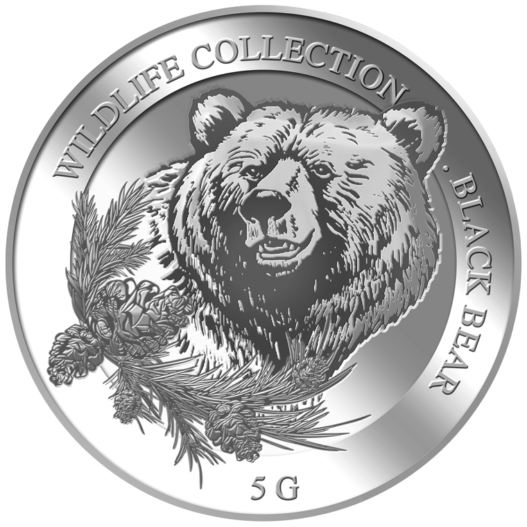 5g Black Bear Silver Medallion