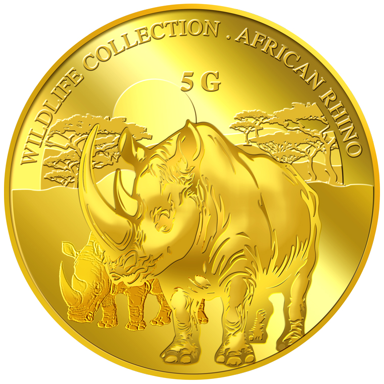 5g Rhinoceros Gold Medallion