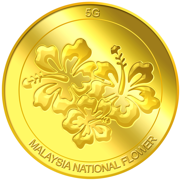 5g Malaysia National Flower Gold Medallion