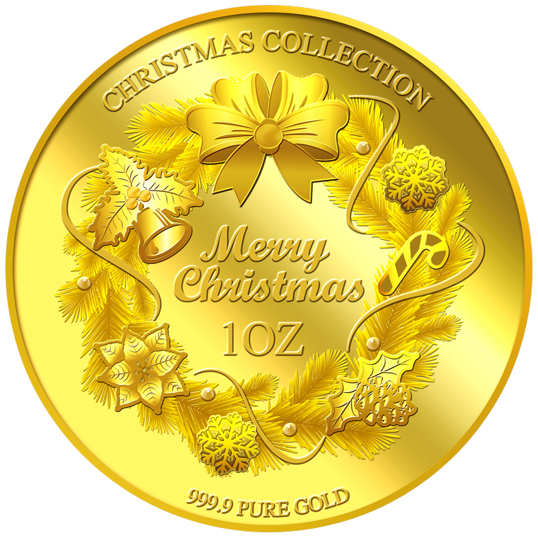 1oz 2017 Christmas Wreath Gold Medallion