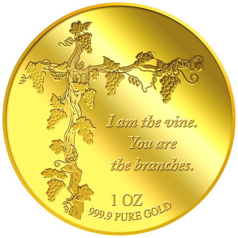 1OZ I am the vine. You are the branches Gold Medallion (12th Launch)