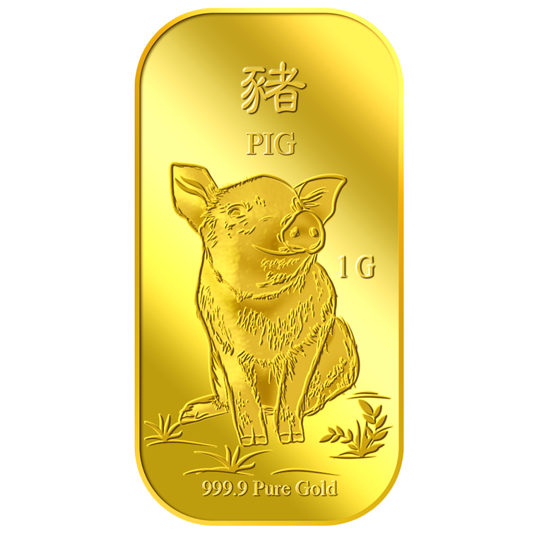 1g Golden Pig Gold Bar