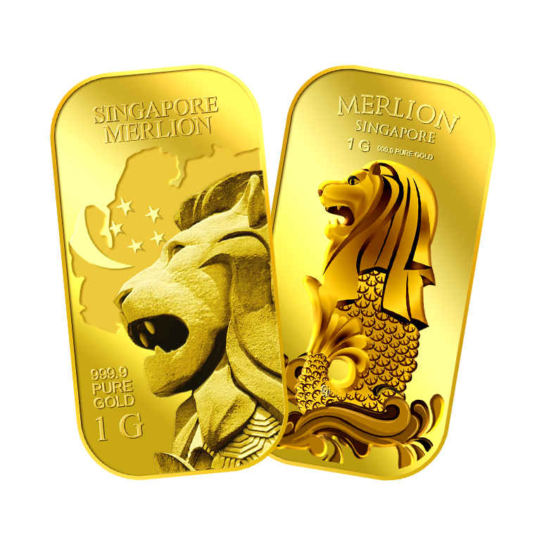 1g x 2 SG Merlion Map Gold Bar and SG Merlion Sea Gold Bar