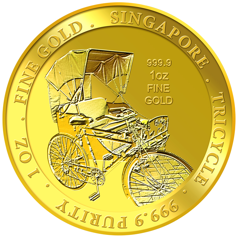 1oz SG Tricycle Singapore Gold Medallion