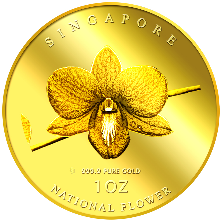 1oz SG National Flower (Round) Gold Medallion